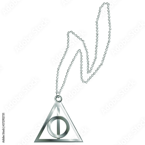 Fotografering Metal chain with the sign of the deathly hallows