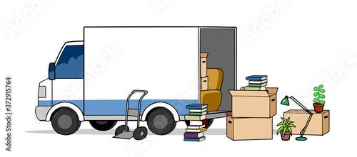 Stampa su Tela Transporter LKW bei Umzug mit Umzugskartons