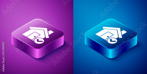 Isometric House with check mark icon isolated on blue and purple background Wallpaper Mural