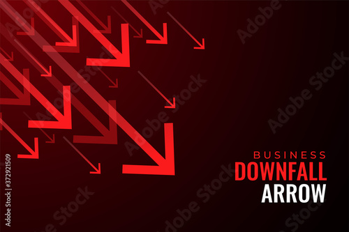downfall red arrows of business sale drops Wallpaper Mural