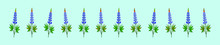 Set Of Bluebonnet With Leaves Cartoon Icon Design Template In Various Models. Vector Illustration