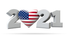 New Year 2021 With USA Flag Heart. 3D Rendering