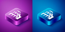 Isometric Coliseum In Rome, Italy Icon Isolated On Blue And Purple Background. Colosseum Sign. Symbol Of Ancient Rome, Gladiator Fights. Square Button. Vector.