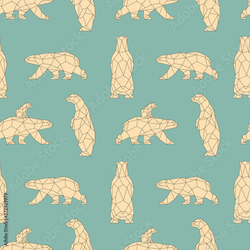 Seamless pattern with polygon polar bears Fototapet