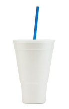 White Styrofoam Soda Fountain Drink Cup With A Blue Straw
