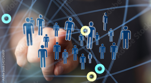Obraz organization chart team concept networking technology. - fototapety do salonu
