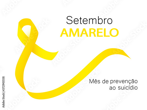 Obraz na plátně Yellow september suicide prevention month in Portuguese language