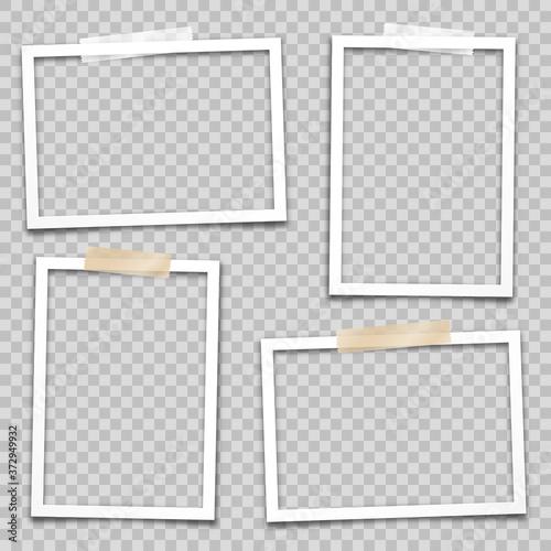 Fototapeta Realistic empty photo card frame, film set. Retro vintage photograph. Digital snapshot image. Template or mockup for design. Vector illustration. obraz