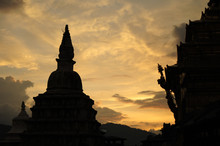 Stupa In Namo Buddha Located In Nepal During The Sunset