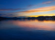 Beautiful view of the lakes at sunset in Klagenfurt in Austria.