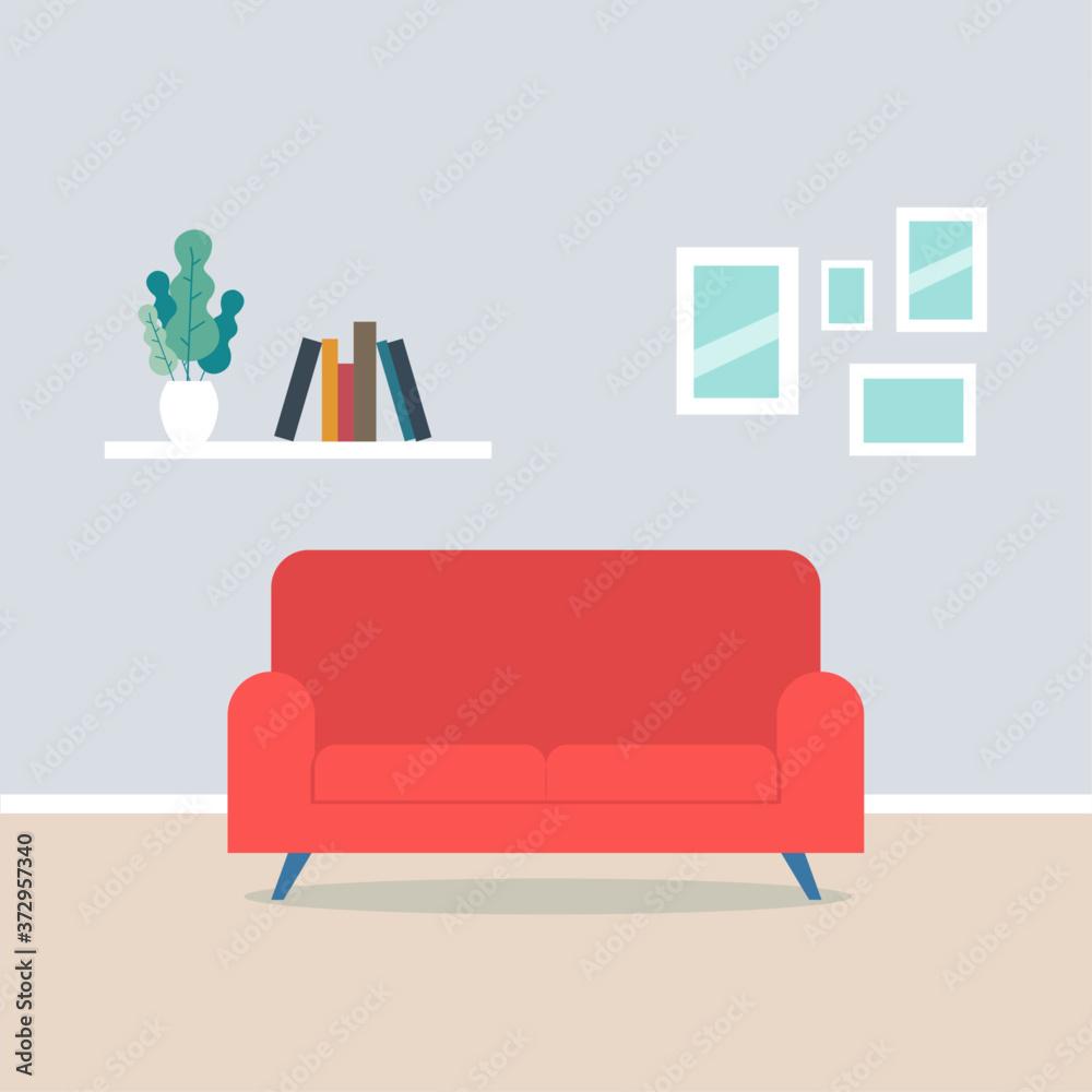 Fototapeta Modern living room interior have sofa and white wall background. Flat vector illustration.