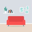 Modern living room interior have sofa and white wall background. Flat vector illustration.