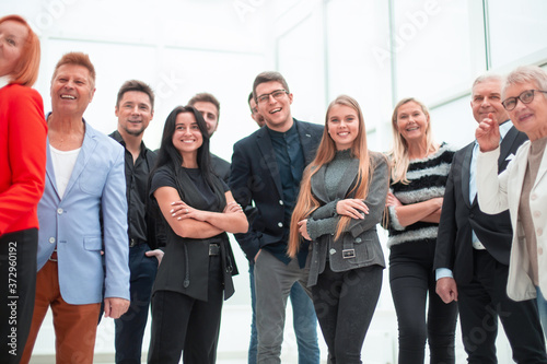 Group of smart young multiethnic businesspeople discussing Fototapete