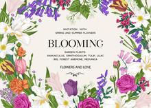 Summer Wedding Invitation With  Flowers.