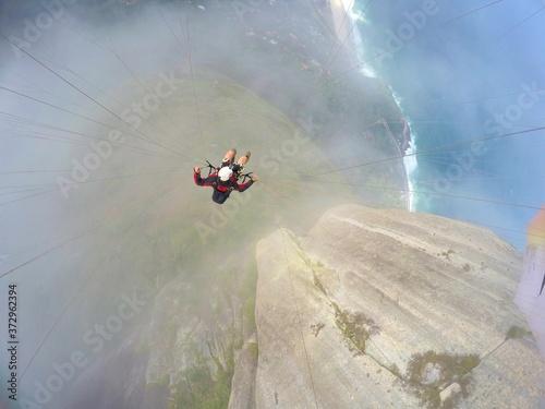 Fototapeta Paragliding point of view over brazilian beach