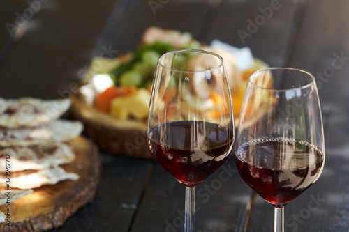 Wine and snack set. Antipasto and catering table Fototapete