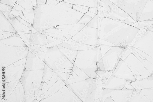 Fototapeta White cracked glass texture background
