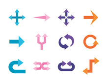 Arrows Flat Style Set Icons Design Of Direction Web Forward And Infographic Theme Vector Illustration