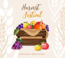 Harvest Festival. Basket With Vegetables And Fruits.