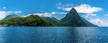A Panorama View Of The Pitons ...