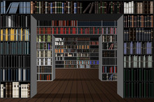 Library. Bookshelves With Many...