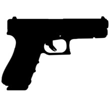 Semi Caliber 9 Mm Glock 17 Gen 4 - Armes Bastille Handgun, Pistols For Police And Army, Special Forces. Realistic Silhouette