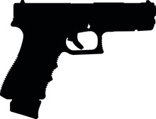 Semi Caliber 9 Mm Glock 18C Standard 9 Mm Luger Handgun, Pistols For Police And Army, Special Forces. Realistic Silhouette