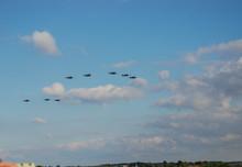 A Flight Of World War II Era Supermarine Spitfires Perform A Fly Past