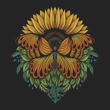 Sunflower Butterfly Vector Illustration
