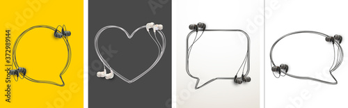 Innovative music quotation template speech bubble set in headphones quotes isolated on backdrop Canvas