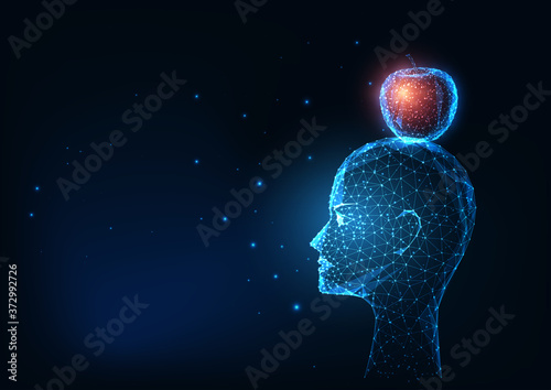 Fotografía Futuristic glowing low polygonal human head and red apple isolated on dark blue