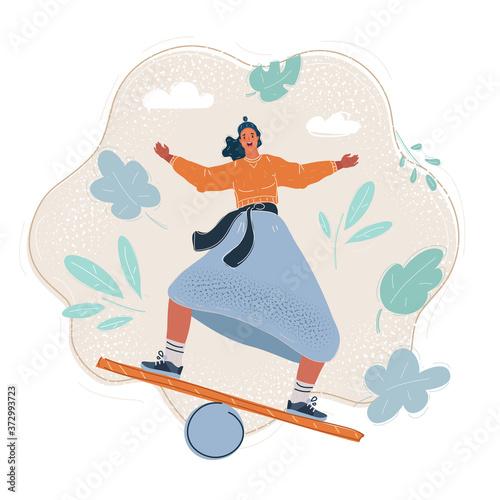 Fotografia Vector illustration of woman balancing on board.