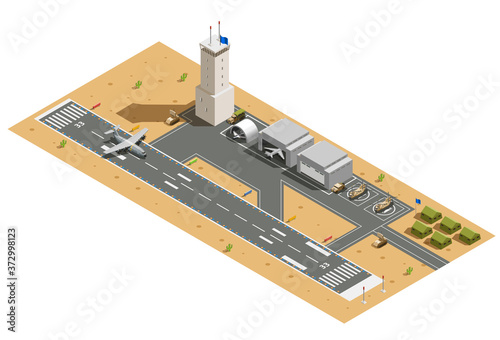 Military Air Base Isometric Composition Canvas Print