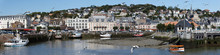 Landscape Panoramic View On The Riverside Of Trouville City , Famous French Resort In Normandy.