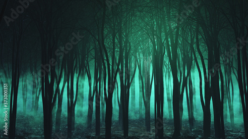 Photo 3D Halloween landscape with spooky foggy forest