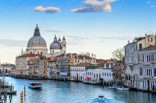 Fotografering Venice at sunset, view of the Grand Canal, Basilica di Santa Maria della Salute Spectacular domed baroque church with unique octagonal design & sacristy