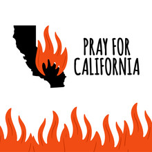 Illustration In Support Of The Southern California After A Wildfires. Map Of California State, Flame And Text California.