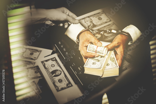 Fotografie, Obraz Double exposure Politicians, illegal businessmen have been arrested for falsification and illegal money laundering