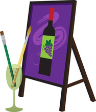 Painting Brushes In A Wine Glass And A Painting Of A Wine Bottle On An Easel Representing A Paint And Sip Party, EPS 8 Vector Illustration
