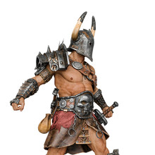 Epic Warrior Man In White Background Side View