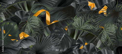 Dark jungle leaves with gold ribbons seamless pattern, 3d vector realistic backg Tableau sur Toile