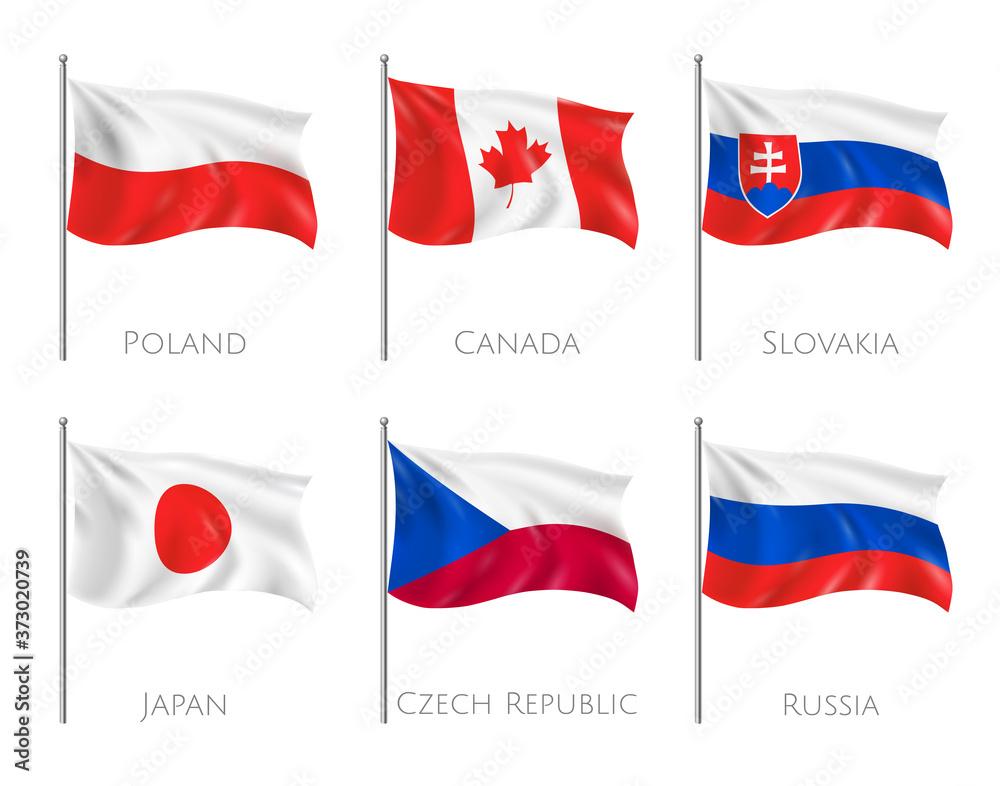 Fototapeta Official Flags Realistic Set