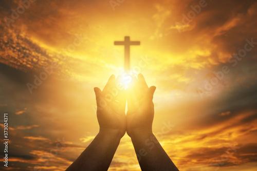 Foto Christian Human hands open palm up worship hope