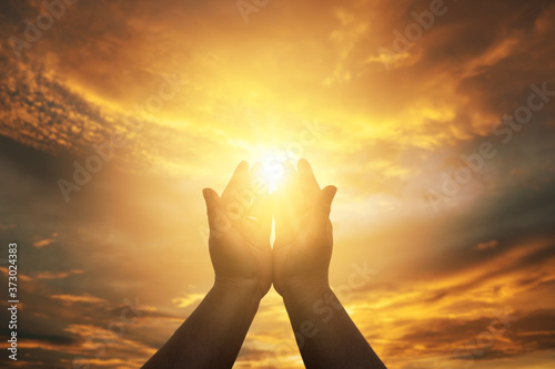 Fotografiet Christian Human hands open palm up worship hope