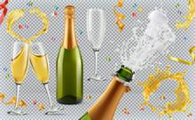 Champagne. Glasses, Bottle, Sp...