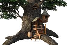 Large Acorn Tree House Isolate...