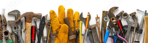 Obraz na plátně Used and dirty work tools for home improvement or diy repair projects