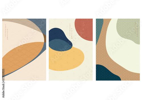 Fototapeta Abstract arts background with Japanese pattern vector. Art landscape with geometric template. obraz na płótnie