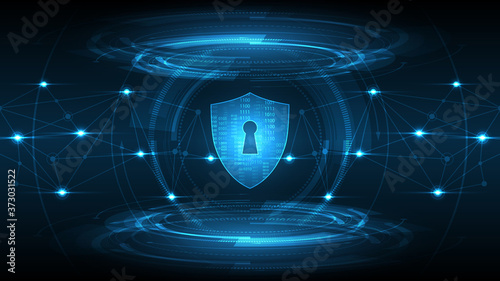 Foto Protected guard shield security concept Security cyber digital Abstract technolo