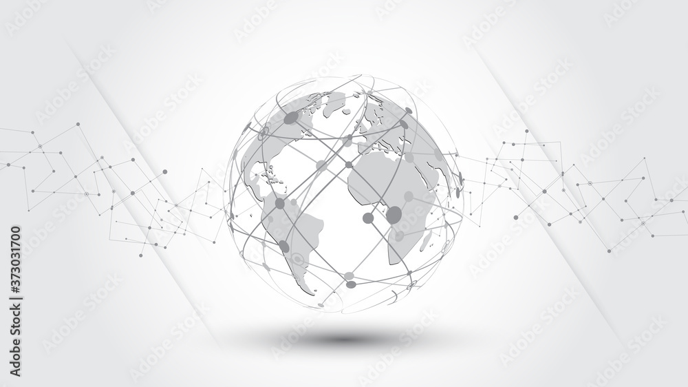 Fototapeta Global network connection World map abstract technology background